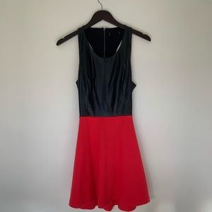 MARCIANO RED AND BLACK LEATHER DRESS